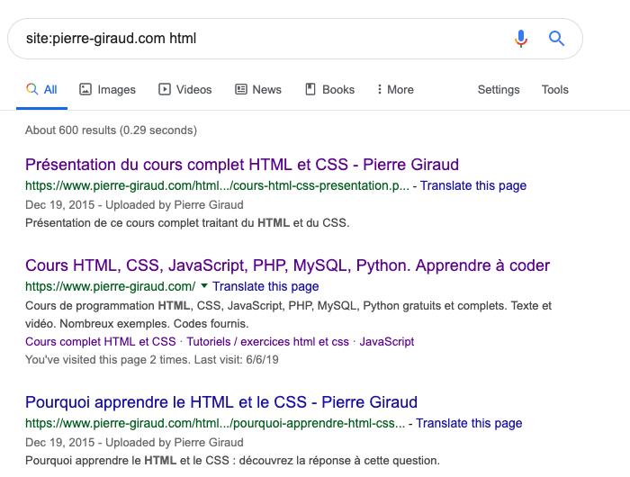 L'opérateur de recherche avancée site de Google