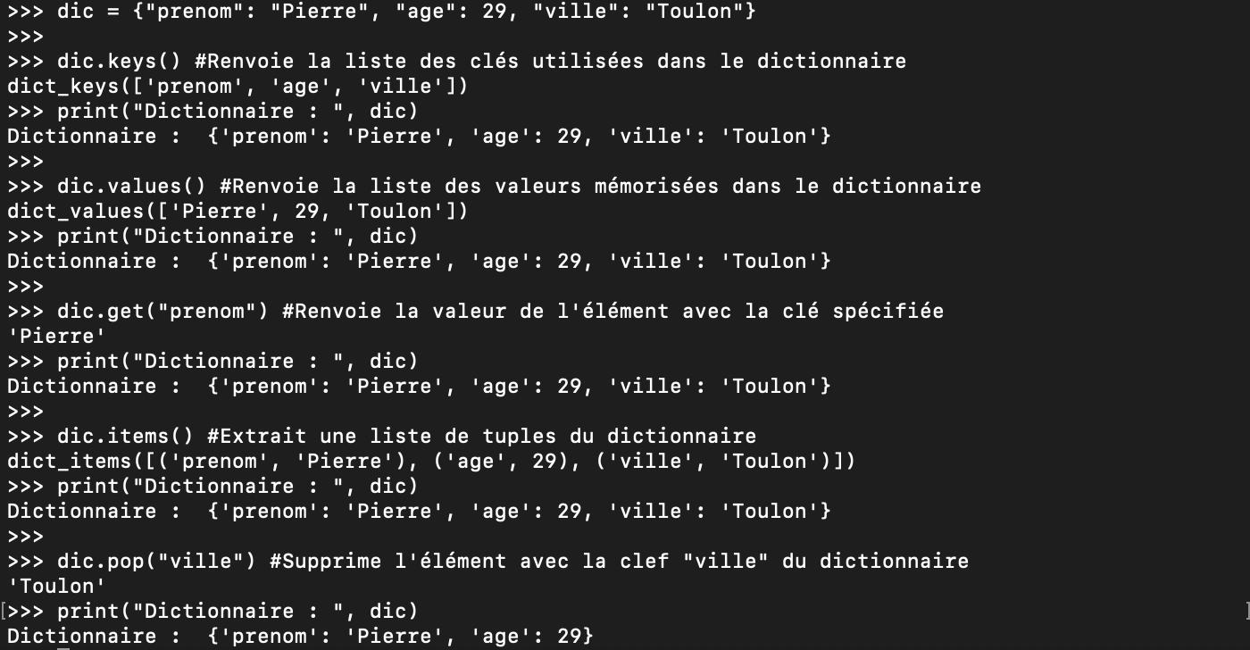 Les méthodes Python des dictionnaires