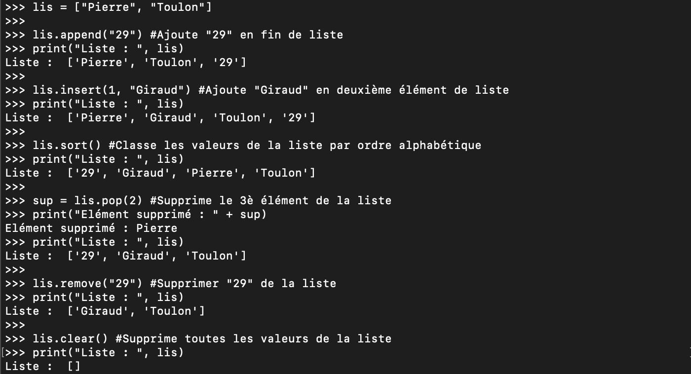 Les méthodes Python des listes