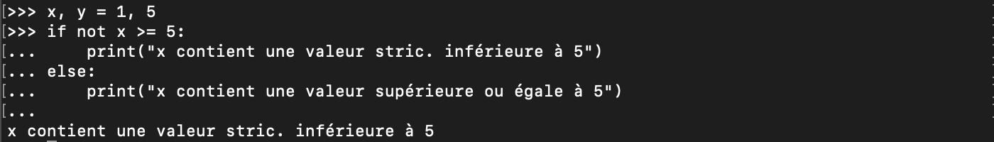 Utilisation de l'opérateur logique not avec les conditions Python