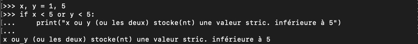 Utilisation de l'opérateur logique or avec les conditions Python