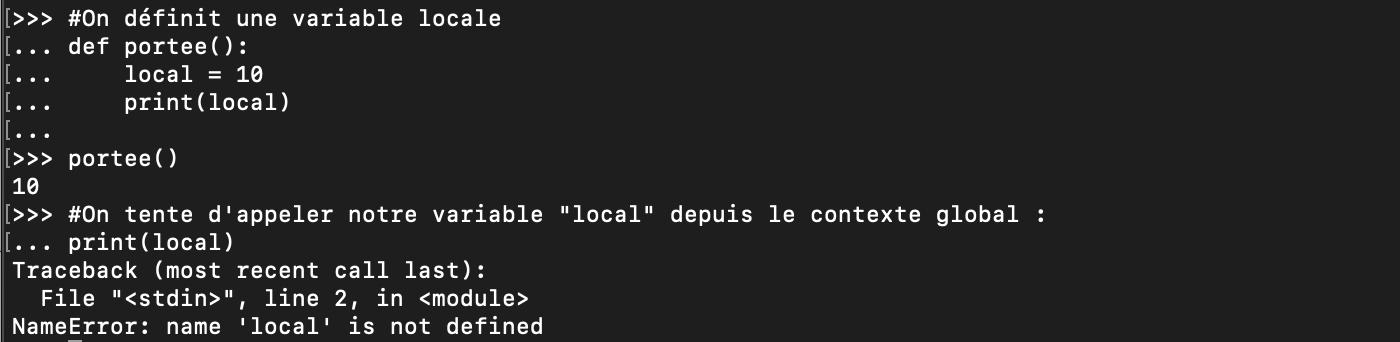 Tentative d'accès à une variable Python locale depuis l'espace global