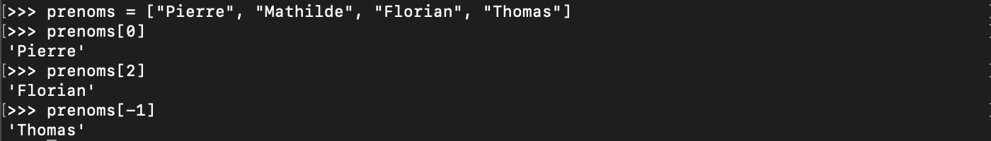 Accéder à un élément de liste en Python