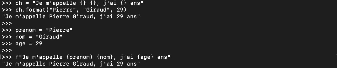 La méthode de formatage Python format