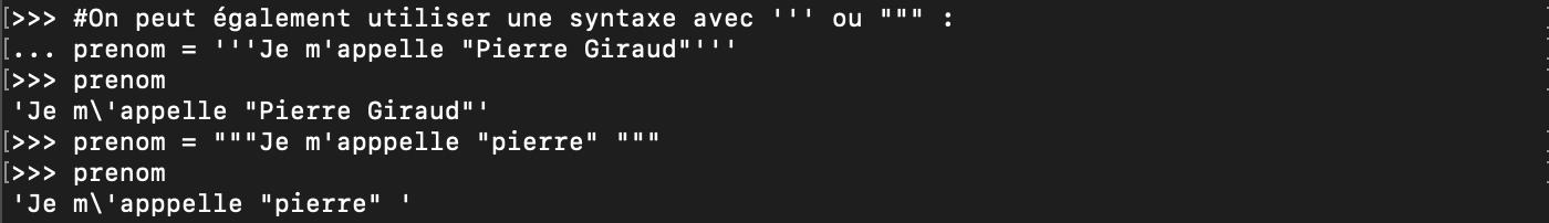 Utilisation des triple guillemet pour échapper en Python