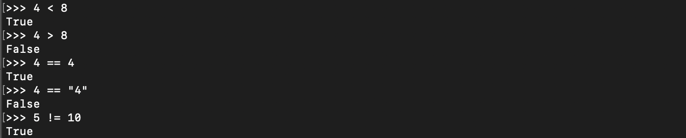 Python comparaison renvoi booléen