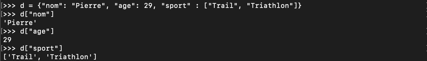 Création d'un dictionnaire Python