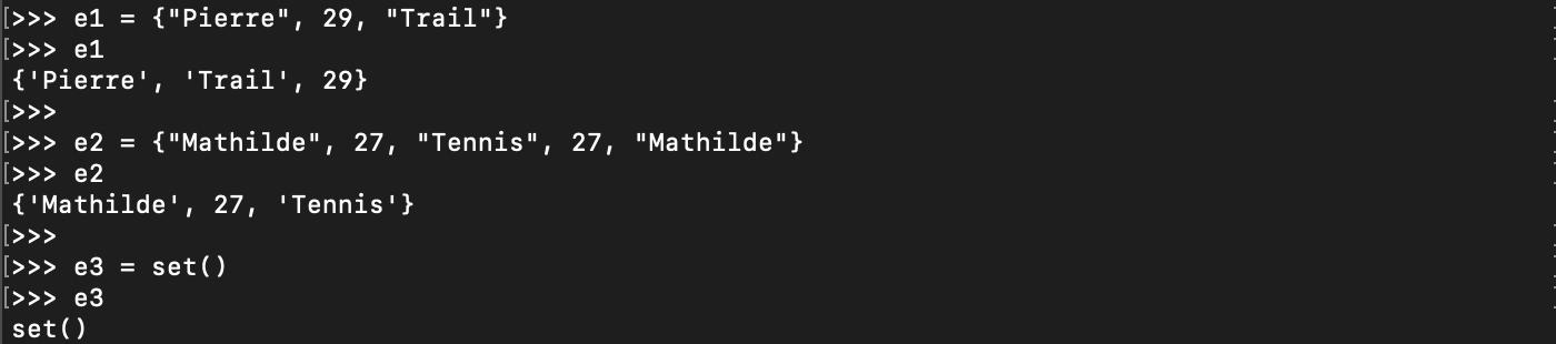 Création d'un ensemble ou set Python