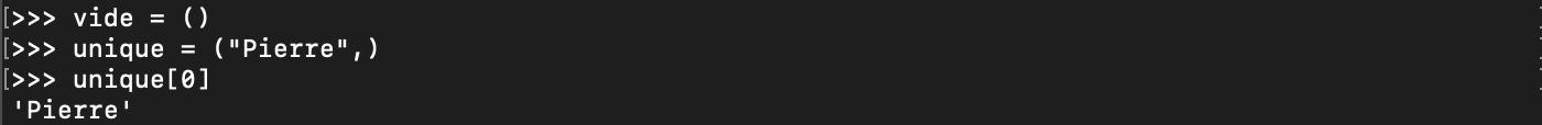 Création d'un tuple vide en Python