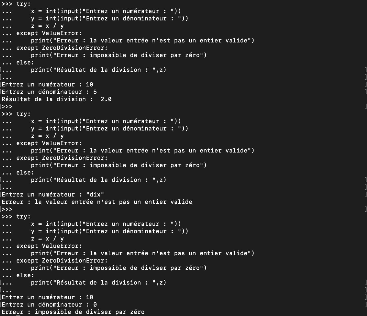 Utilisation d'une clause else pour gérer des exceptions en Python