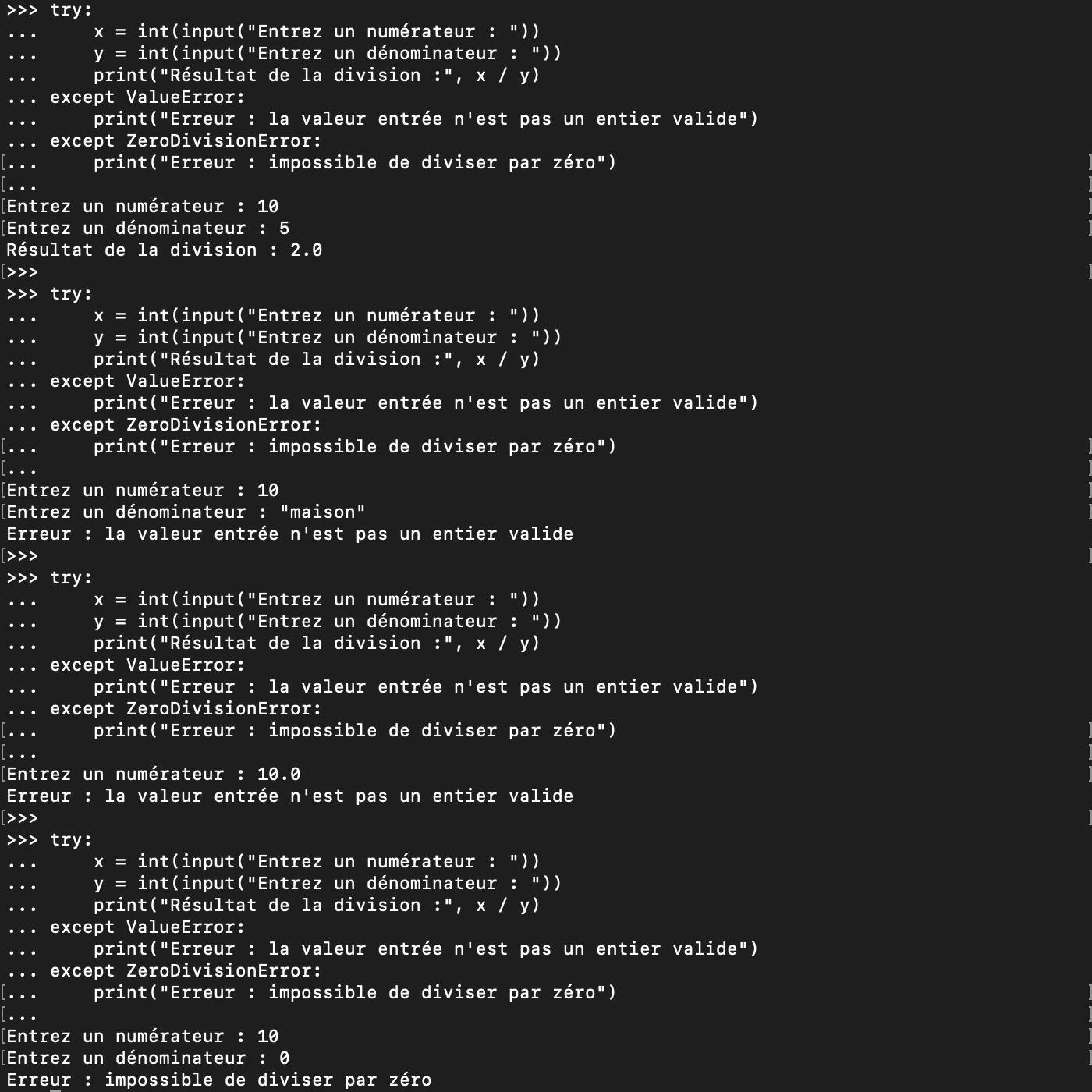 Utilisation de blocs try except pour gérer certaines exceptions en Python