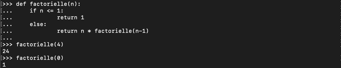 Création d'une fonction récursive Python