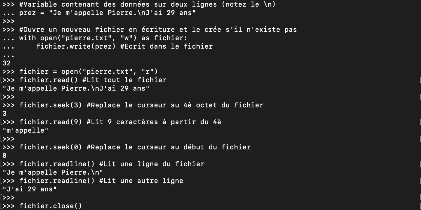 Ouvrir un fichier en Python avec open et le lire avec read