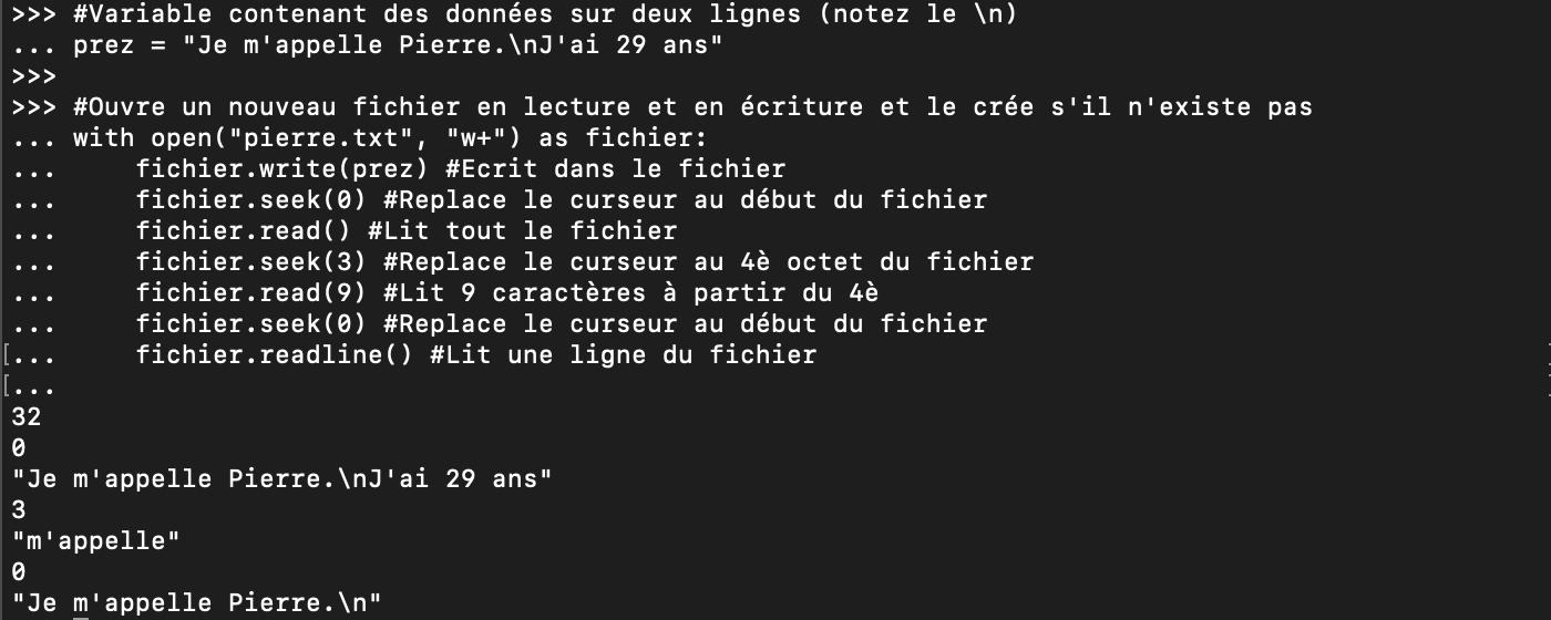 Ouverture, écriture et lecture d'un fichier Python