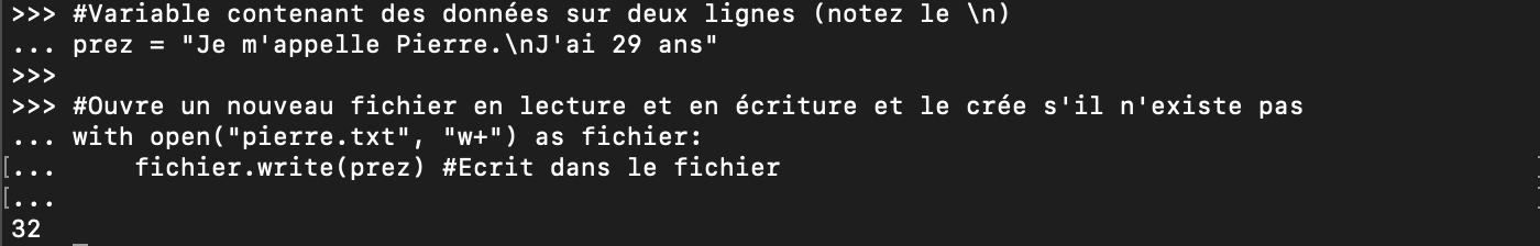 Ouverture d'un fichier Python et écriture avec write