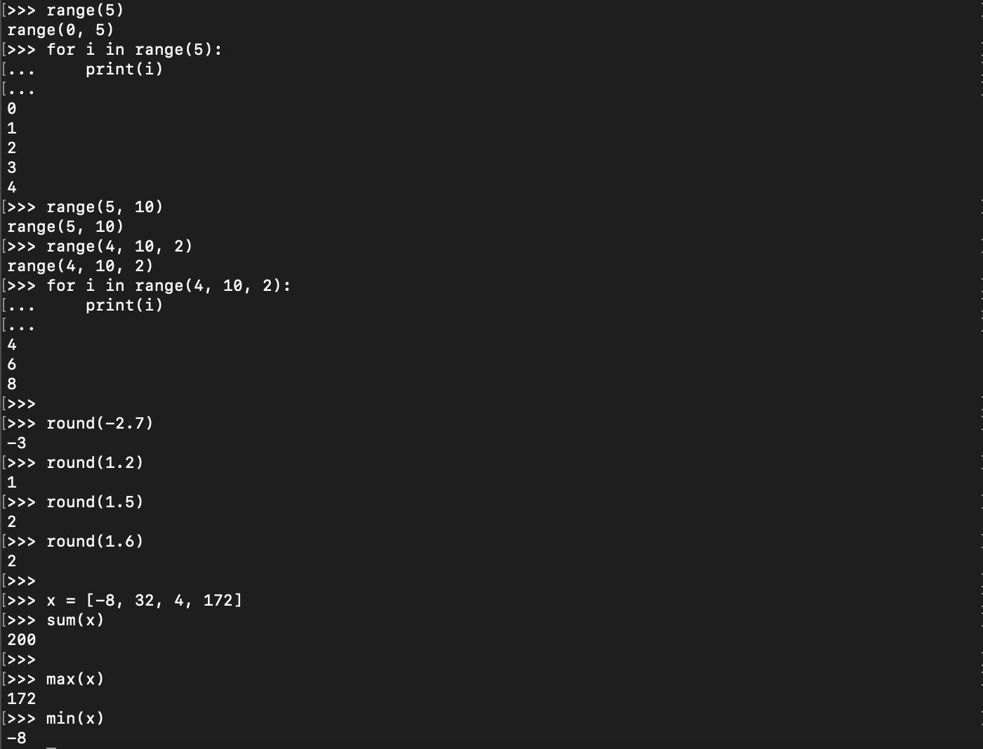 Fonctions Python mathématiques prédéfinies