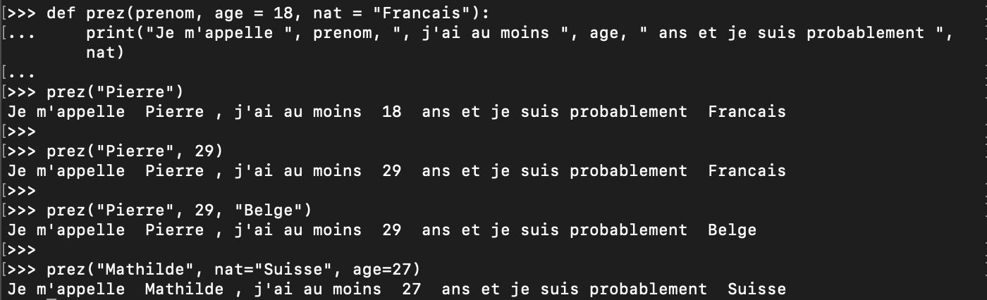 Paramètre nommé pour une fonction Python