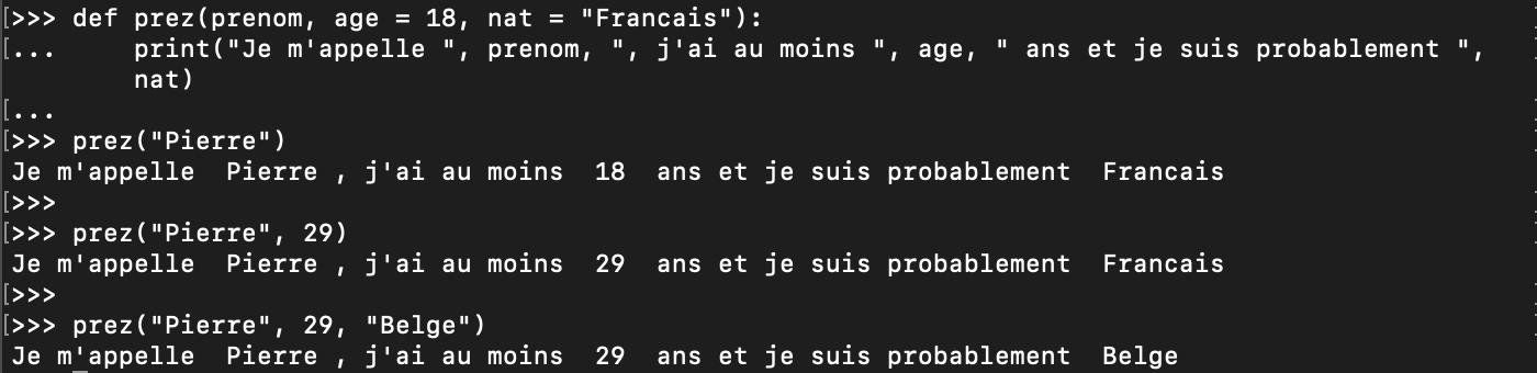 Valeur par défaut des paramètres des fonctions Python
