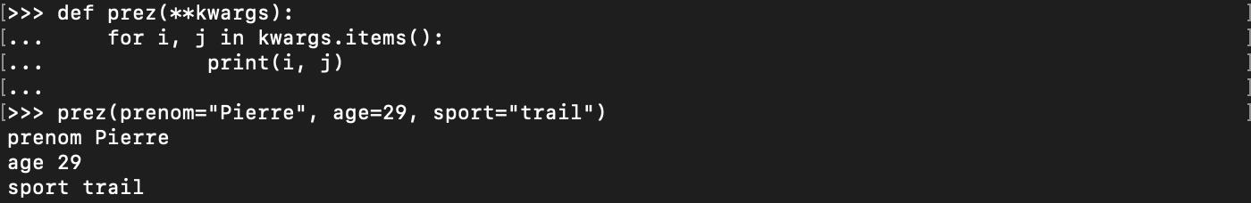 Passage d'un nombre arbitraire d'arguments avec clef nommée à une fonction Python