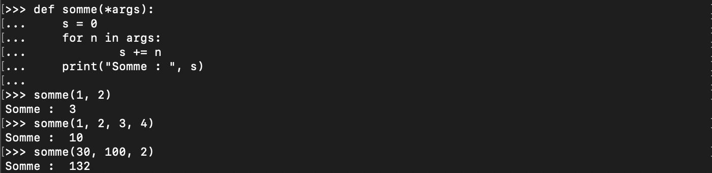 Passage d'un nombre arbitraire d'arguments à une fonction Python