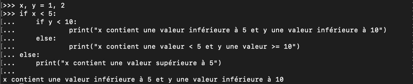 Imbrication de conditions Python