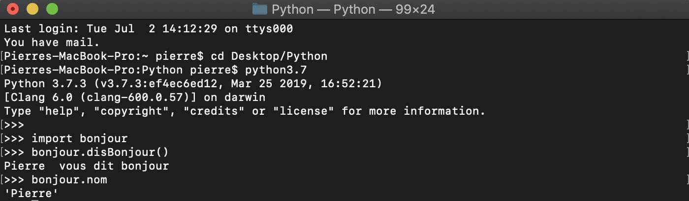 Importation d'un module Python et utilisation de ses éléments