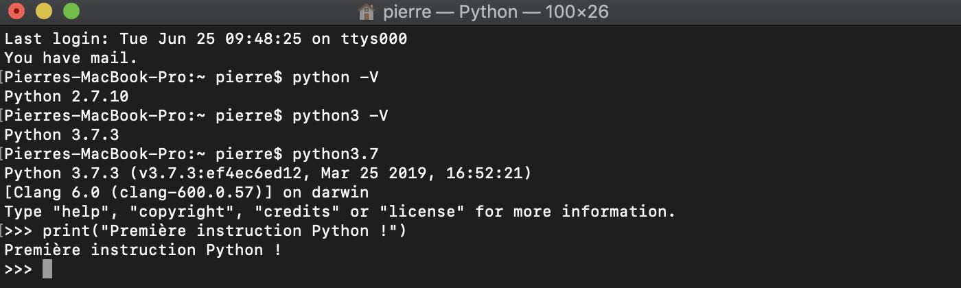 Première instruction Python avec l'interpréteur