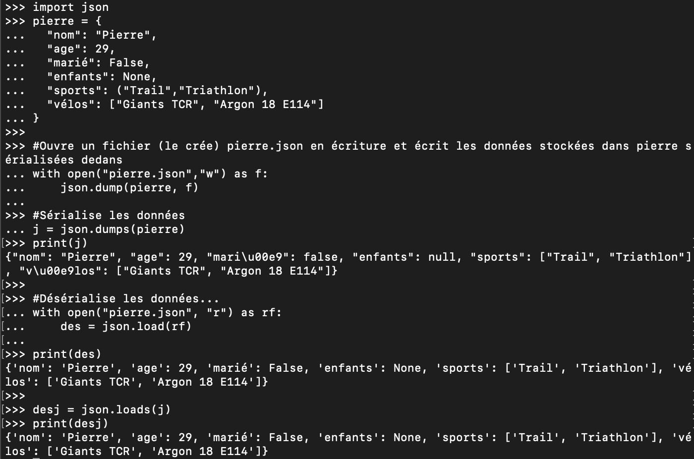 Désérialisation de données JSON en Python