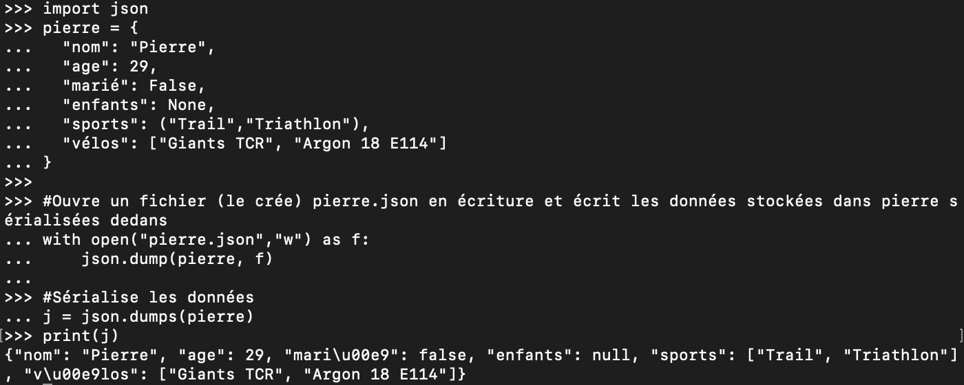 Sérialisation de données Python en JSON
