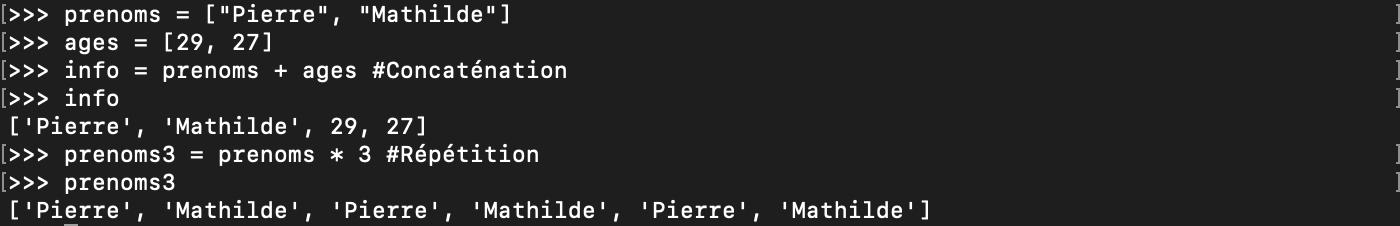 Concaténation et répétition de listes en Python