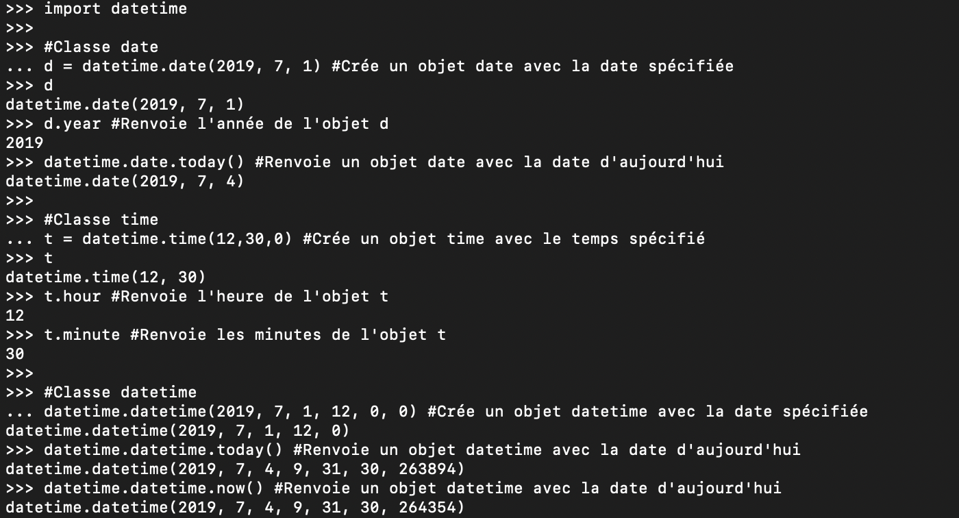 Présentation du module Python Datetime