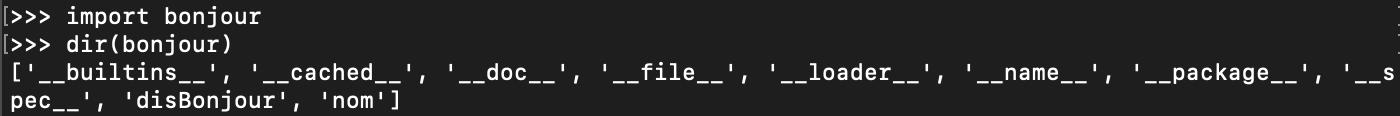 Fonction prédéfinie Python dir