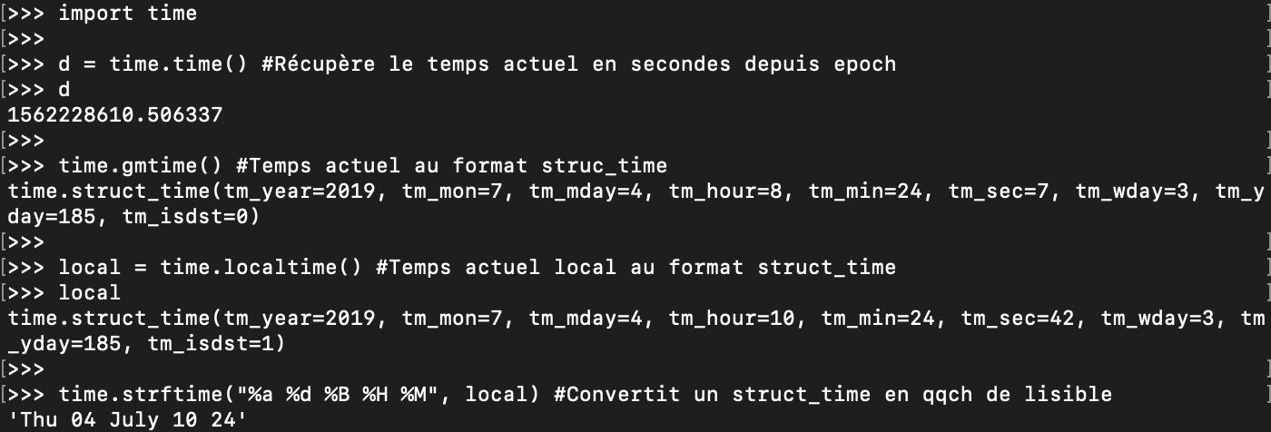 Présentation du module Python Time