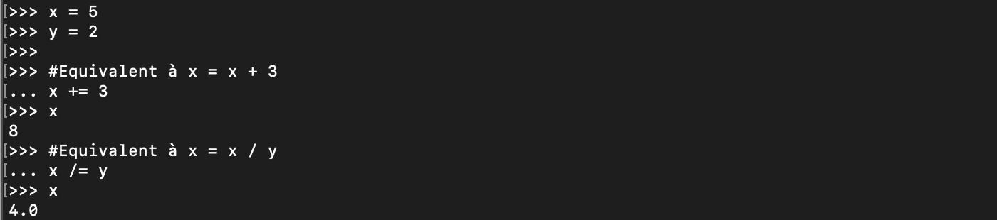 Les opérateurs d'affectation simple et combiné en Python