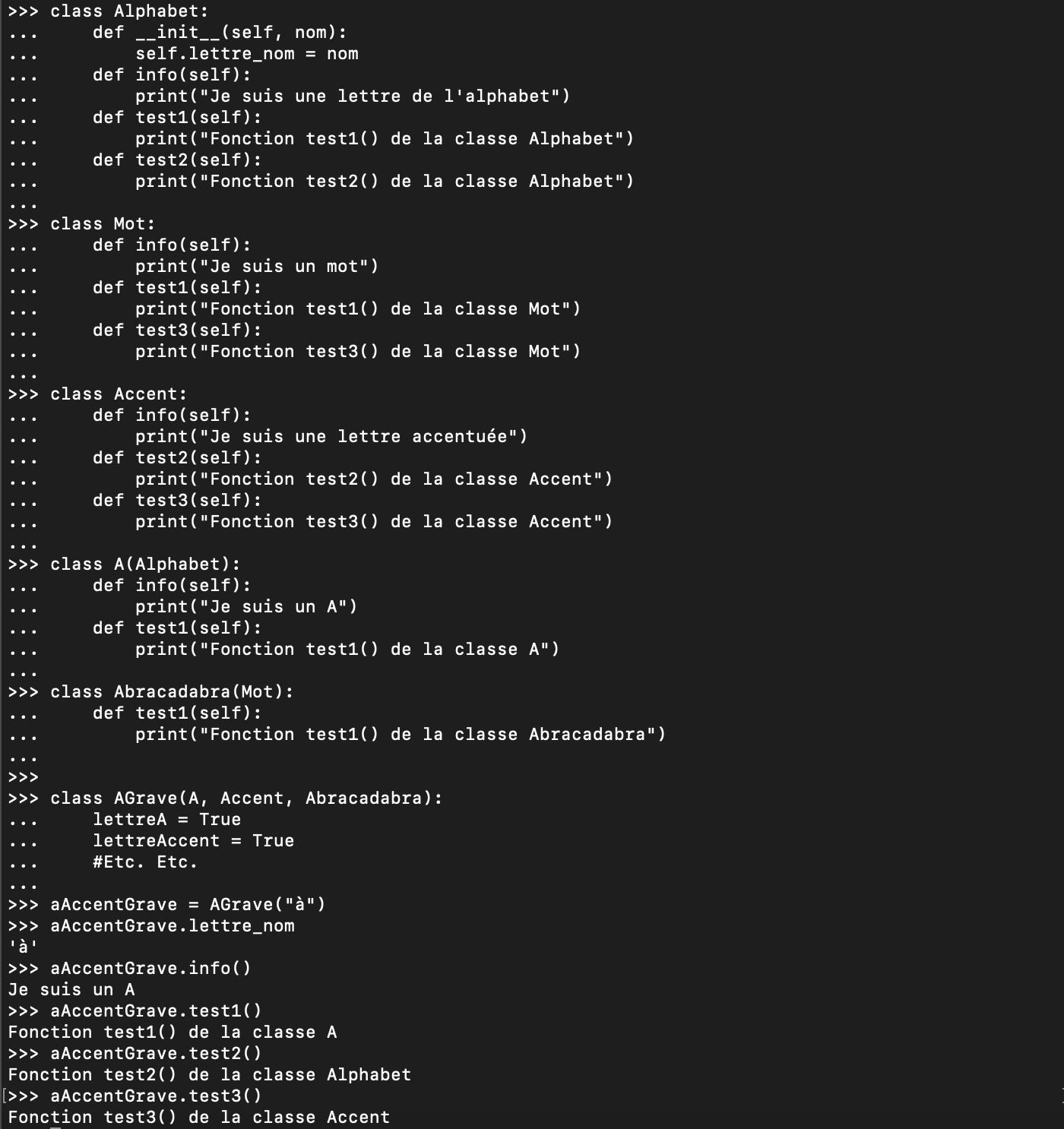 Héritage multiple en Python orienté objet