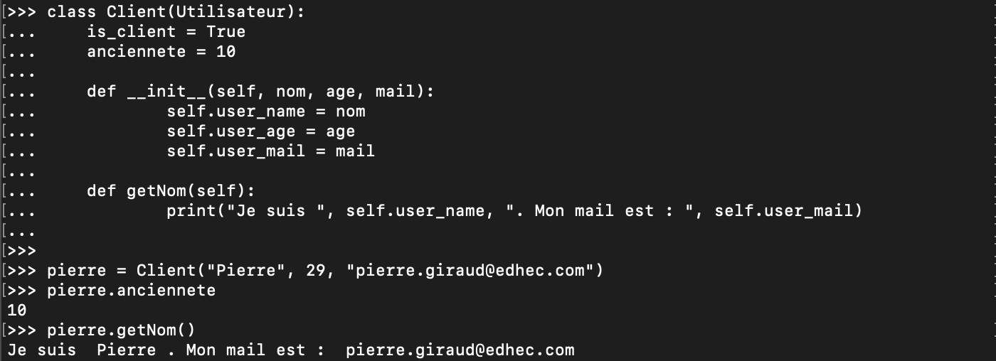 Surcharge d'une méthode de classe en Python orienté objet