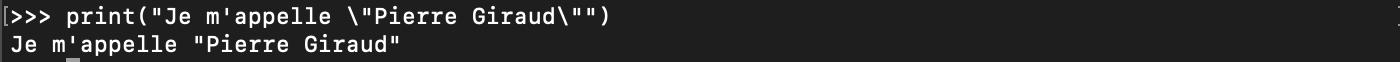 Affichage d'une chaine de caractères avec print en Python