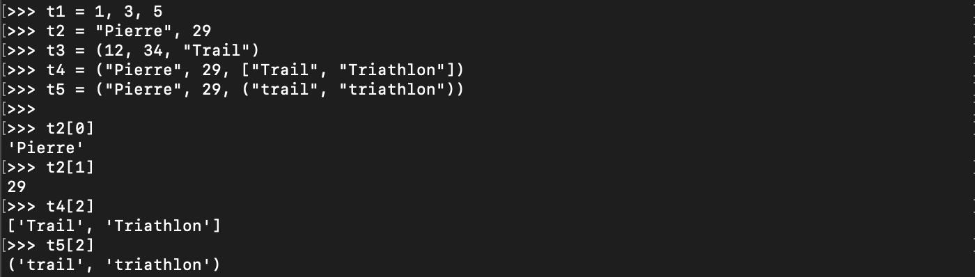 Création d'un tuple en Python