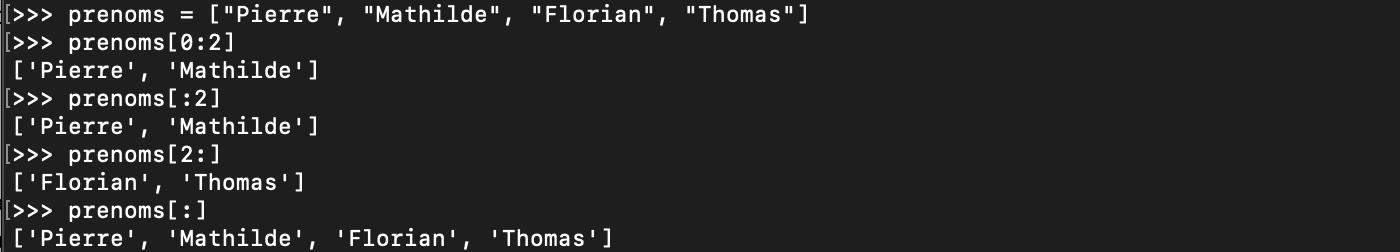 Les tranches de liste Python