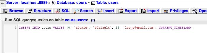 Instruction SQL INSERT INTO pour insérer une entrée en base de données MySQL