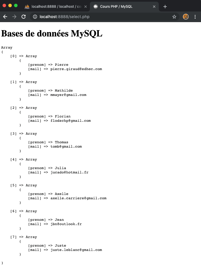 Résultat SQL SELECT avec PHP PDO