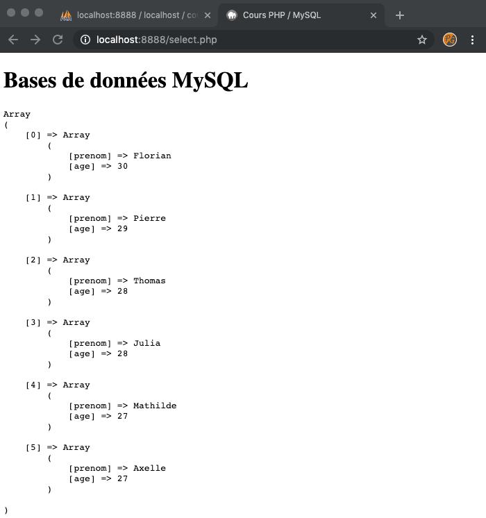Résultat SQL SELECT WHERE ORDER BY avec PHP PDO