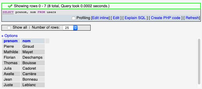 Résultat d'une sélection de plusieurs colonnes d'une table avec SQL SELECT sous phpmyadmin
