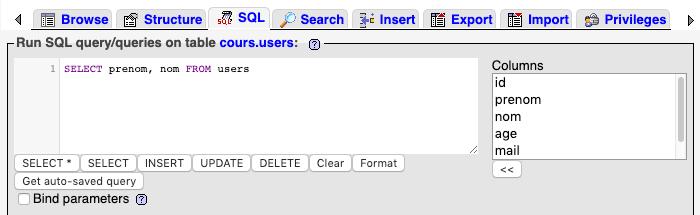 Sélection de plusieurs colonnes d'une table avec SQL SELECT sous phpmyadmin