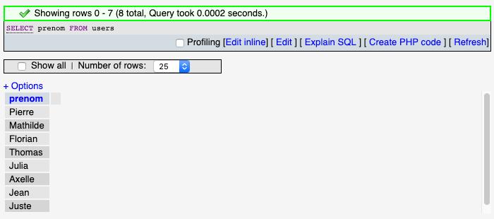 Résultat d'une sélection simple avec SQL SELECT sous phpmyadmin