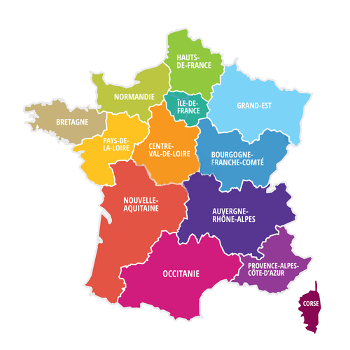 Carte de france des régions pour création de carte interactive HTML