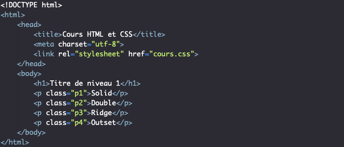 Support HTML création bordures CSS
