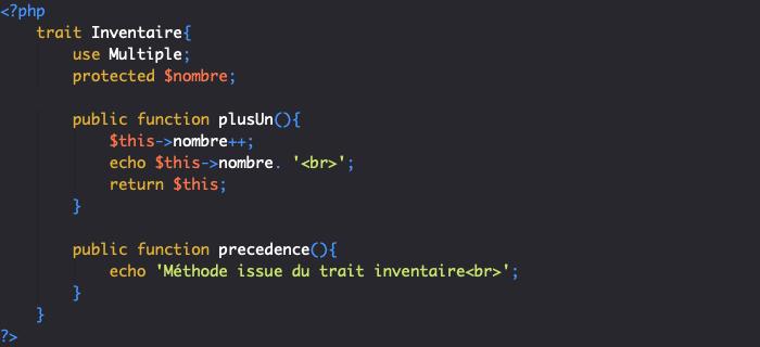 Héritage des traits et traits composée en orienté objet PHP