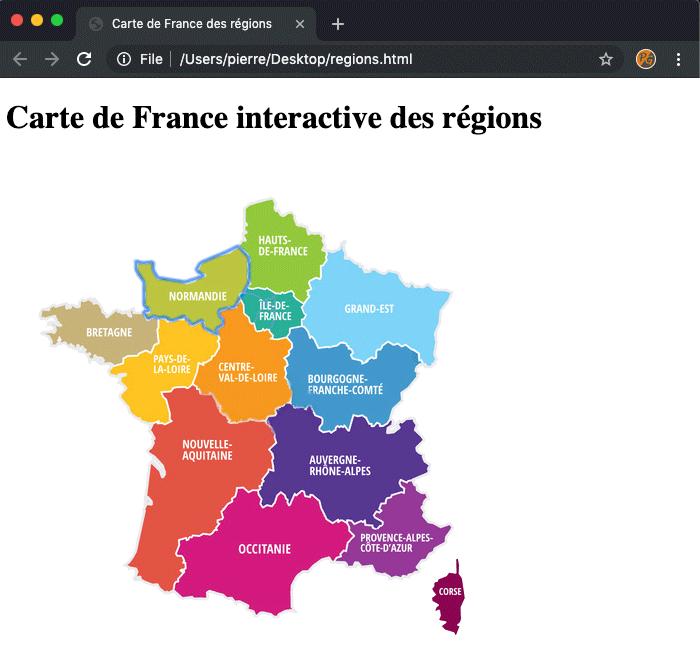 Résultat création carte de france département région interactive en HTML