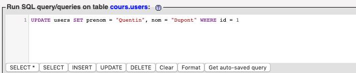 Requête SQL UPDATE pour mettre à jour les données de plusieurs colonnes